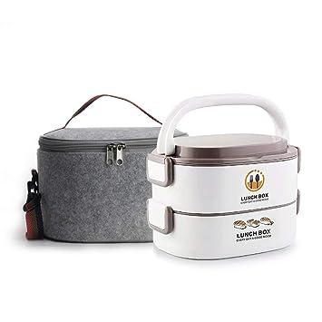 Fiambrera Aislamiento T/érmico Fiambrera Almuerzo Acero Inoxidable Uso del contenedor de Almacenamiento de 2 Capas para almacenar Alimentos Individuales