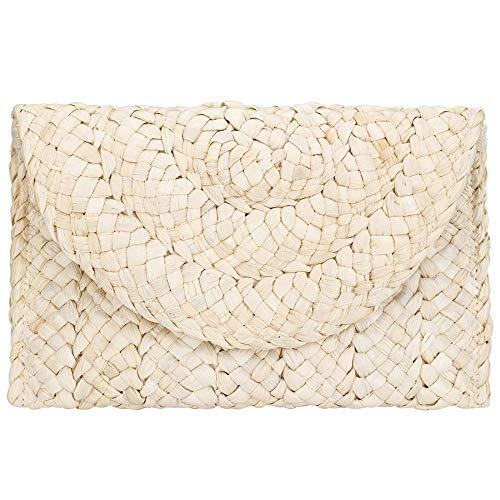 Straw Handbag Clutch Chic Envelop Woven Beach Bag Natural Rattan Hobo Bag Summer Straw Clutch for Travel (Beige) ()