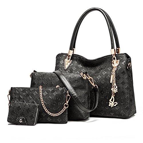 Abshoo Women Clutch Bag Faux Leather Shoulder Crossbody Purse Handbags (Black) Zippered Faux Leather Purse