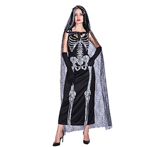 EraSpooky Skeleton Wedding Dress Halloween Costume Bride Gown with Spider net lace -