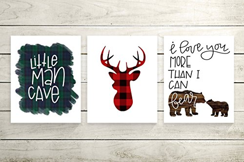 Plaid Wall Art (Three Piece Handlettered Nursery Graphic Design Prints 8.5 x11 Artwork Rustic, Blue and Red Plaid Flannel
