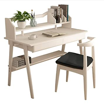 Amazon.com: Solid Wood Computer Desk Bookshelf Drawer ...