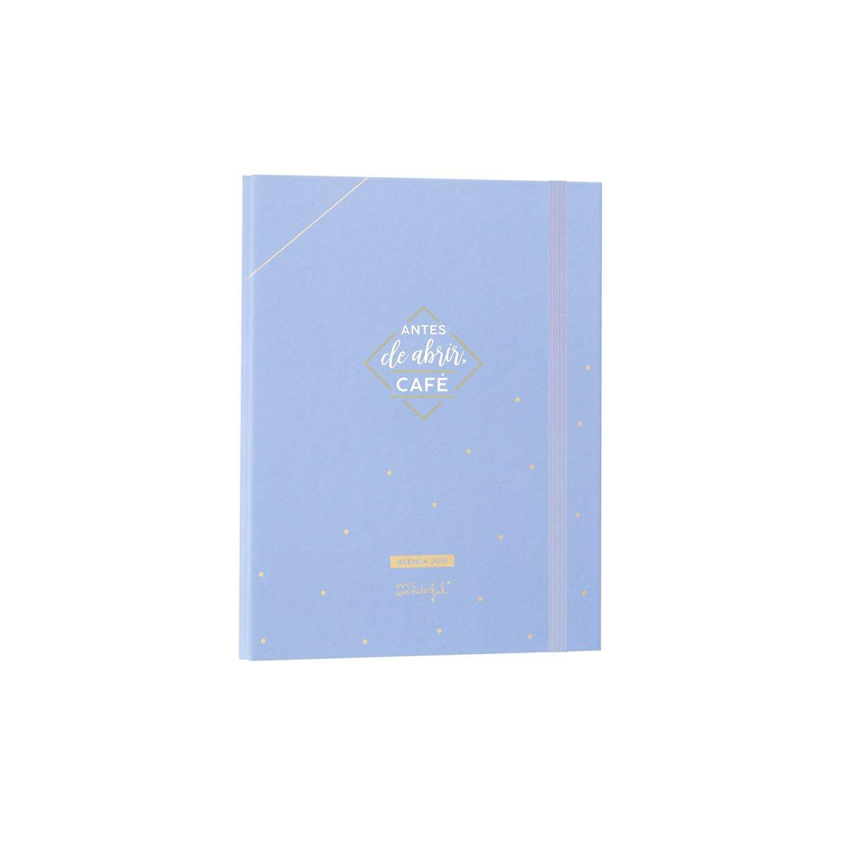 Mr. Wonderful - Agenda anual azul con anillas 2019 semana vista - Antes de abrir café