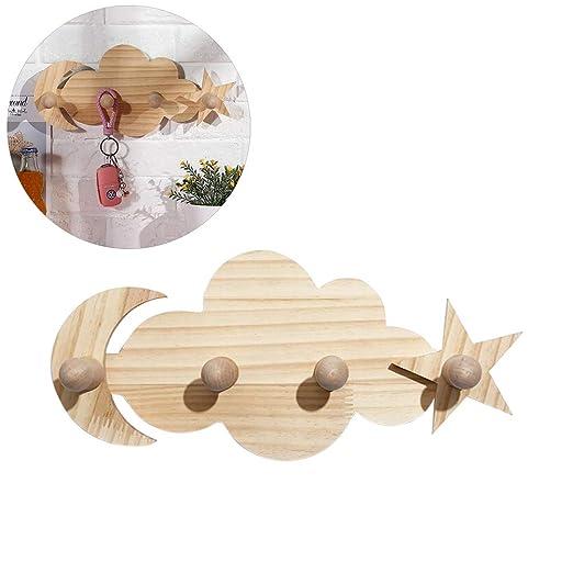 Koyowa Gancho para Ropa Madera Sin Clavos Perchero para niños Panel de Armario Perchero para Pared Ganchos Decorativos para Pared Madera 4 Ganchos ...