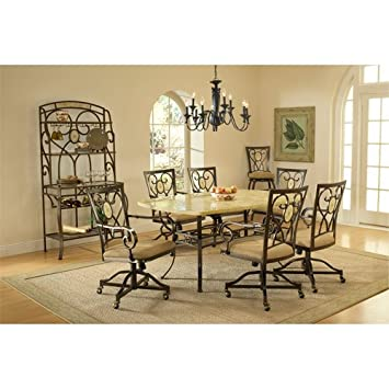 Hillsdale Brookside Rectangle Dining Table, Brown Powder Coat Finished Base  And Fossil Stone Top
