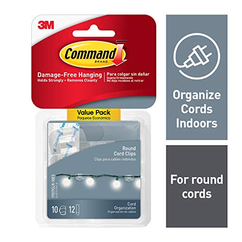 (Command 17017CLR-VP Round Cord Clip, 10 Clips, Clear, 10)
