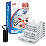 unique storage - TAILI Premium Vacuum Storage Bags Combo 7 Pack (1x Super Jumbo+, 3X Jumbo, 3X Large, with 1 Unique Travel Hand Pump), Space Saver Bags for Big Bedding, Blanket, Clothes