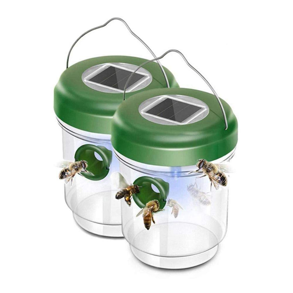 Layono Reusable Wasp Trap Catcher Life Outdoor Solar Powered Fly Trap with Ultraviolet Led Light Waterproof for Trapping Bees, Hornets, Yellow Jackets, Bugs in Home Garden (Green, 2 Pack)
