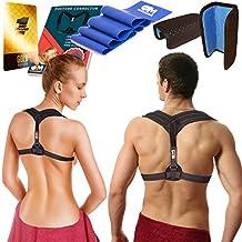 Posture Corrector Clavicle Support Brace for Women & Men + Resistance Band for Fix Upper Back Pain – Adjustable Posture Brace for Improve Bad Posture | Thoracic Kyphosis Brace by Only1MILLION (Black-AllSize) (Hijack)