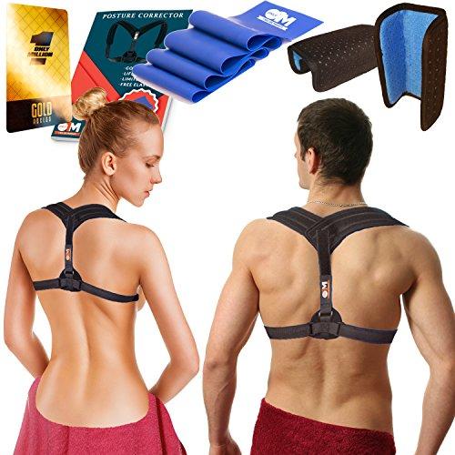 Back Posture Corrector Clavicle Support Brace for Women & Men + Resistance Band for Fix Upper Back Pain – Adjustable Posture Brace for Improve Bad Posture | Thoracic Kyphosis - Women Head Shapes
