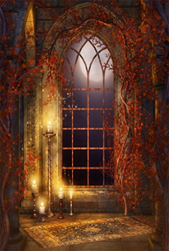 AOFOTO 5x7ft Vintage Gothic Room Background Moonlight Arched Window Photography Backdrop Interior Candles Vines Girl Boy Child Kid Lovers Portrait Halloween Photo Studio Props Video Drape Wallpaper -