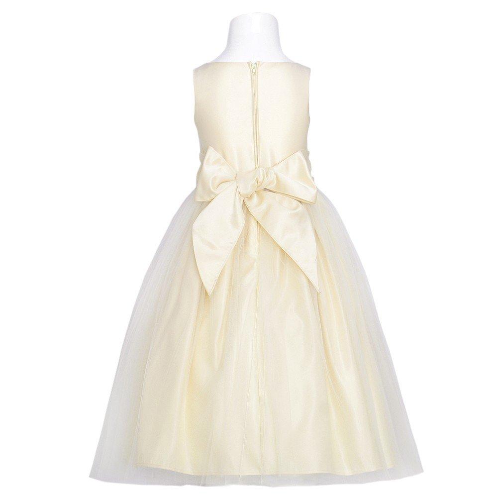 4dc2e03cd Sweet Kids Baby Girls Champagne Satin Lace Bow Tulle Flower Girl Dress 24M:  Amazon.co.uk: Clothing