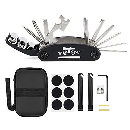 Box Lever Kit - WOTOW Bike Repair Set Bag Bicycle Multi Function 16 in 1 Tool Kit Hex Key Wrench Tire Patch Lever (No Glue Included) (Black 16 in 1)