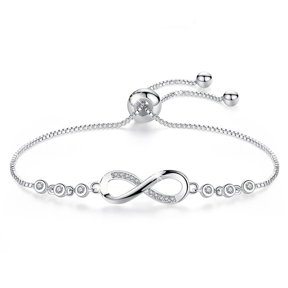 Infinity Endless adjustable Love Symbol Charm White Gold Plated forever Charm Bracelet ,More Women Girls Prefer to Wear This Bracelet Everyday, Gift for Her Birthday Back to School Gift for Her Teache