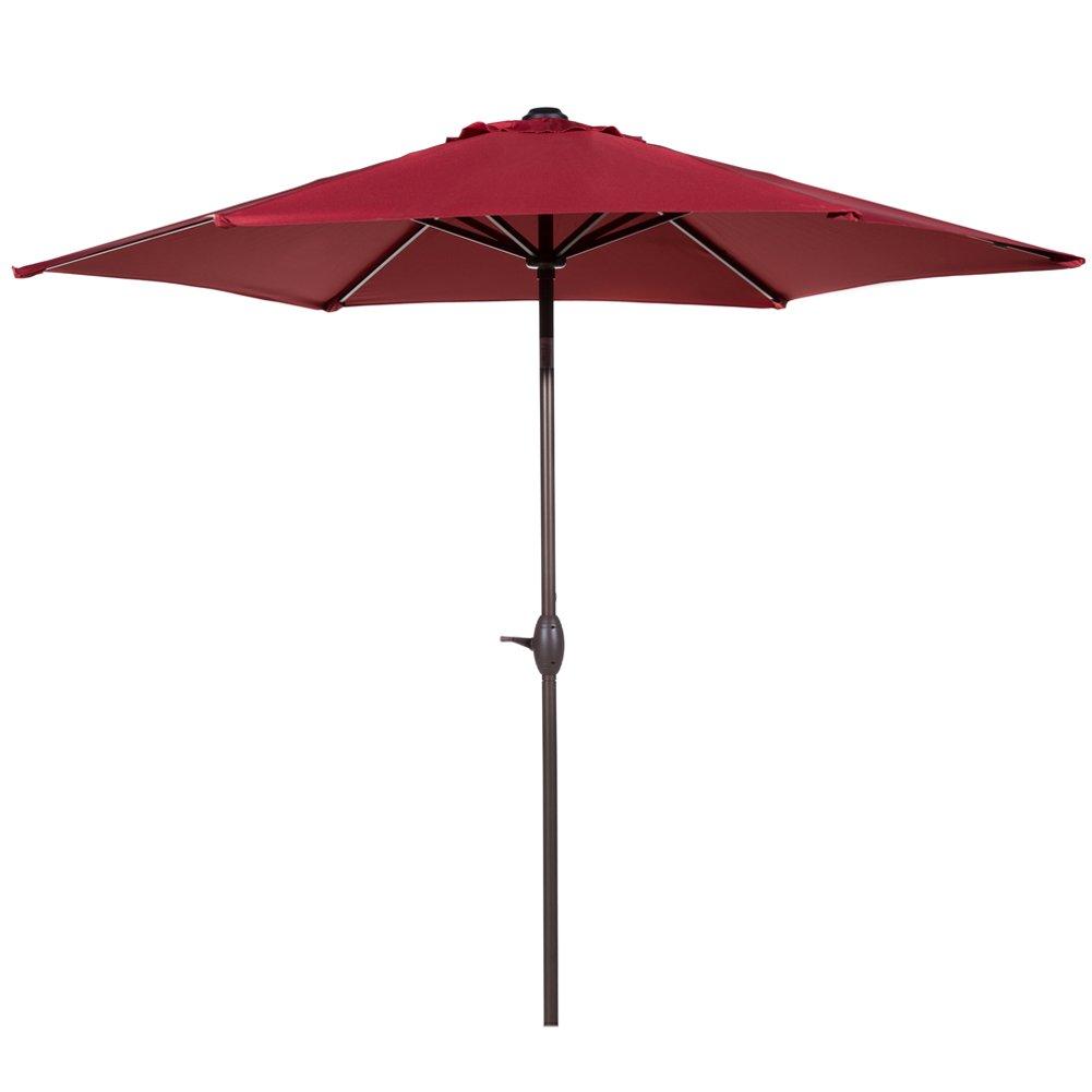 Abba Patio Outdoor Patio 9-Feet Aluminum Market Table Umbrella with Push Button Tilt and Crank, Red by Abba Patio