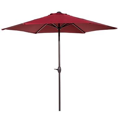 Abba Patio 9 Ft Market Outdoor Aluminum Table Patio Umbrella with Push Button Tilt and Crank, Red