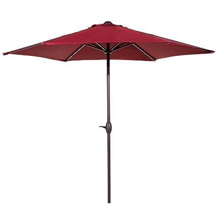 Abba Patio 9 Ft Market Outdoor Aluminum Table Patio Umbrella With Push  Button Tilt And Crank