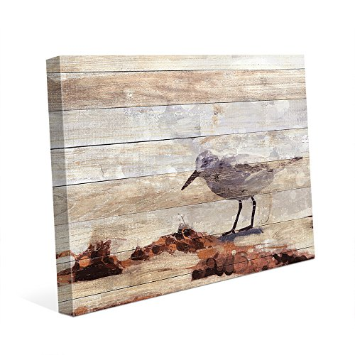 Sandpiper Wall Decor - Sandpiper Painting Slatted Wood: Beach Scene with Waves in the Sun of Bird Hunting Searching for Food Nautical for Beach House Wall Art Print on Canvas