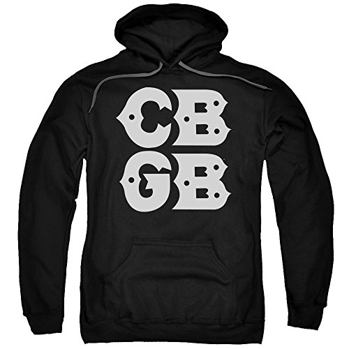 - Trevco CBGB Stacked Logo Unisex Adult Pull-Over Hoodie for Men and Women, Large Black