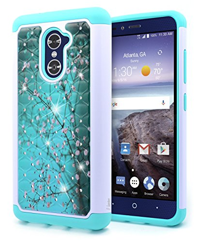 ZTE Grand X Max 2 Case, ZTE Max Duo LTE Case, ZTE Imperial Max Case, NageBee [Hybrid Protective] Armor Soft Silicone Cover with [Studded Rhinestone Bling] Design Hard Case (Plum) - Lte Grand X Max Cases