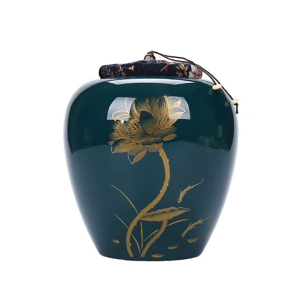 A ROLLHG Classic Funeral Cremation Urn for Human Ashes Large capacity ceramic seal High temperature firing Adult Funeral (color   A)