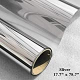 Timeet Window Film One Way Mirror Reflective Anti UV Self Adhesive Solar Film Decorative Static Cling Heat Control Privacy Window Tint for Home and Office (17.7' x 78.7',Silver)