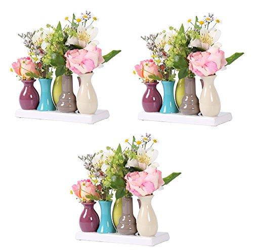 Keramikvasenset Blumenvase Keramikvasen bunt / weiß Vase Blumen Pflanzen Keramik Set Deko Dekoration (3 Sets je 7 Vasen, bunt)
