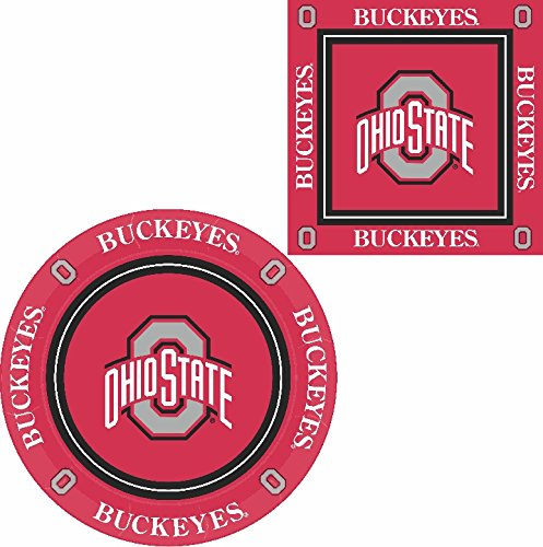 Westrick Ohio State Buckeyes Napkins & Plates - 64 Pieces (Serves 32) -
