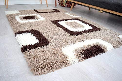 Global Home Brown Beige & Ivory Cube Boxed Pattern Geometric Square Design Super Soft High Pile Luxury Shaggy Area Rug II Drawing Room,Guest Room Rug CarpetII size-3×5 feet