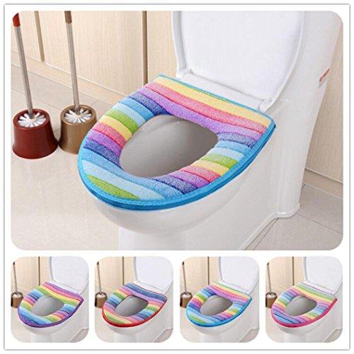 Gotd Rainbow Bathroom Toilet Seat Closestool Washable Soft Warmer Mat Cover Pad Cushion