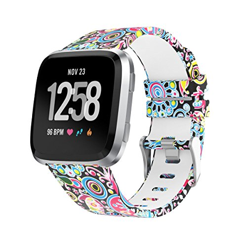 Amawell for Fitbit Versa Band,Silicone Adjustable Replacement Sport Strap Printed Bands with Classic Buckle for Fitbit Versa Fitness Smart Watch (Floral Pattern-4, Large)