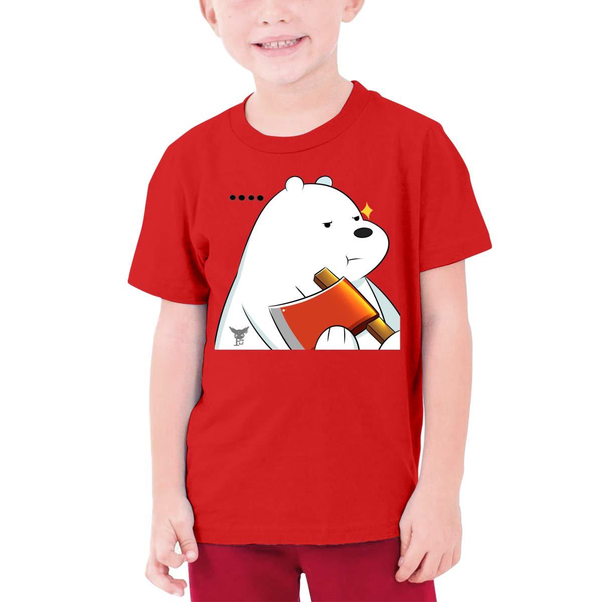 Juwuwenhuachua Customized We Bare Bears Funny T Shirt Short Sleeve for Minor Black