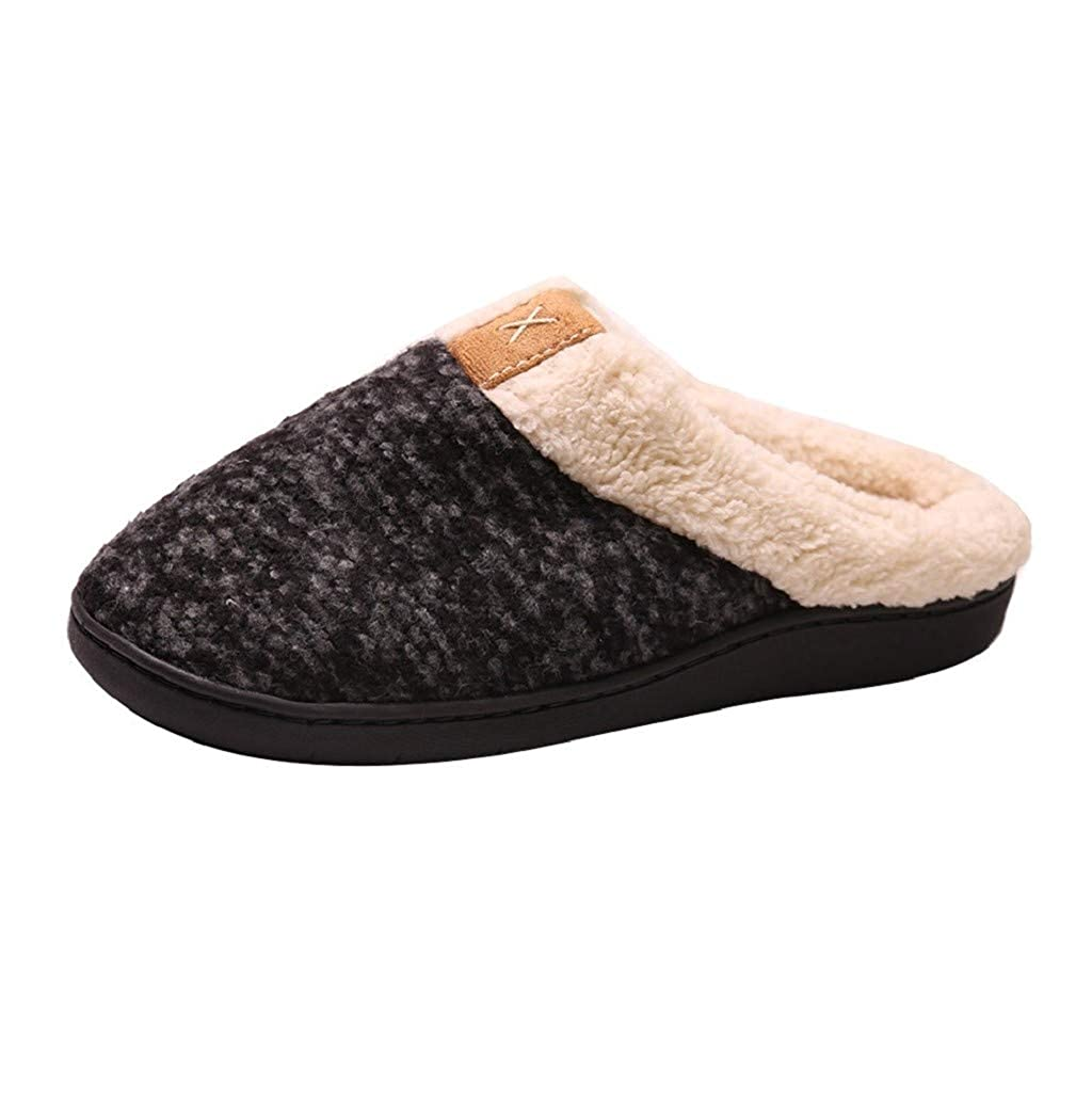 Women Comfort Memory Foam Slippers Wool Fleece Lined House Shoes Indoor Outdoor Anti-Skid Shoes by Nevera