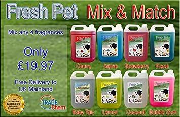4 x 5L Fresh Pet Caseta/cattery desinfectante, Cleaner, Deodoriser – Mix &