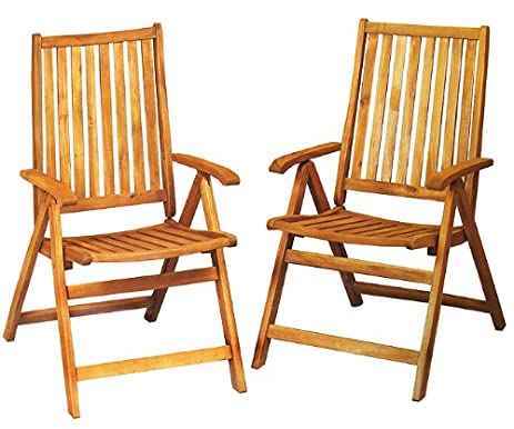 CC Outdoor Living Acacia Wood Outdoor Patio Furniture Folding Chairs, Set  Of 2