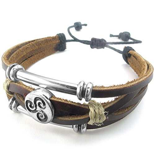 [KONOV Mens Womens Leather Rope Bracelet, 7-9 inch Tribal Braided Cuff Bangle, Brown Silver] (Womens Halloween Ideas)