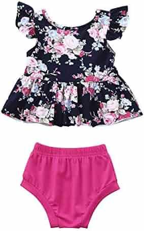 c1e996032941 Fineser 2PCs Newborn Baby Girls Summer Outfits Clothes Floral Vest  Tops+Shorts Set