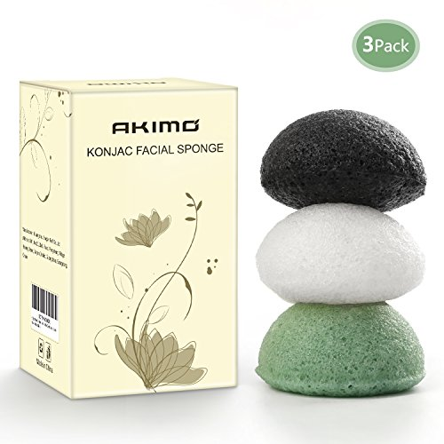 Akimo Konjac Facial Sponge - 3 Pack Natural Activated (Milk, Green Tea and Bamboo Charcoal) Face Exfoliating Scrubber, Gently Deep Pore Cleansing and Body Massage for Men Women by Akimo