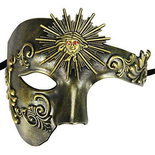 Half Face Masquerade Mask, Sun God Greek Style Plastic Party Carnival Halloween Mask (Sun God Antique -