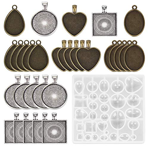 30 Pieces 5 Styles Pendant Trays- Round & Square & Heart & Teardrop & Oval,and 1 Pcs Silicone Resin Jewelry Casting Molds for Pendant Crafting DIY Jewelry Gift Making