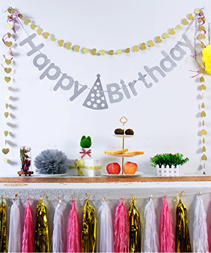 [Koker Premium Sparkle Letters Pastel Happy Birthday Flag Banner Personalized, Glitter Vintage Party Pennant Tassels Bunting Garland, Silver] (Glamour Personalized Birthday Banner)