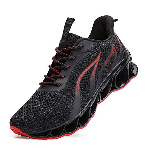 TSIODFO Running Walking Shoes for Men mesh Breathable Comfort Fashion Sport Athletic Sneakers Youth Boys Tennis Shoes Size 8 Man Runner Jogging Shoes Black red