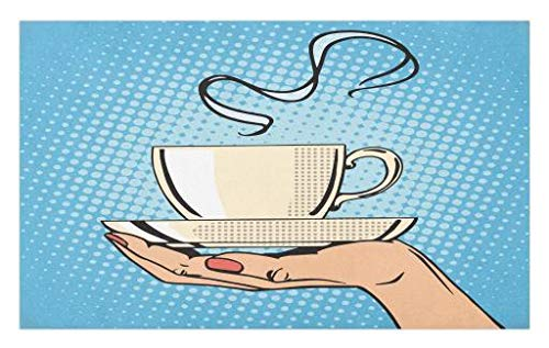 rmat, Woman Hand Holding A Hot Tea Cup Comic Strip Pop Art Retro Kitsch Illustration, Decorative Polyester Floor Mat with Non-Skid Backing, 30 W X 18 L Inches, Ivory Sky Blue ()