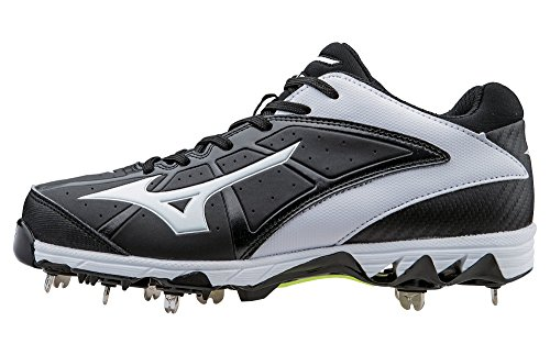 Mizuno Women's 9 Spike Swift 4 Fast Pitch Metal Softball Cleat, Black/White, 7.5 M - Metal Fastpitch Cleats