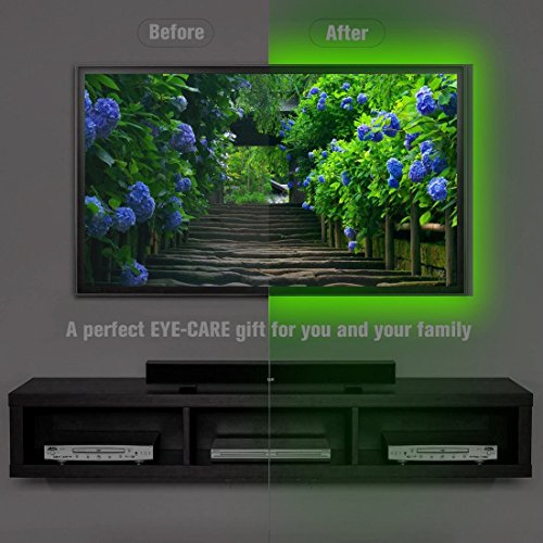 Bias Lighting for HDTV (78.7in / 2m) with Remote Control - EveShine Multi-Color RGB TV LED Backlight Strip Lighting Kit for Flat Screen TV LCD, Desktop Monitors - Fits Any TV Size Up to 60'' - Black by EveShine (Image #6)'