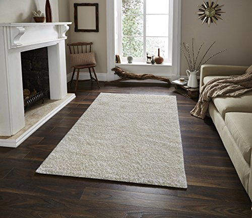 Adgo Chester Shaggy Collection Solid Color High Soft Pile Carpet Thick Plush Fluffy Furry Children Bedroom Living Dining Room Shag Floor Rug (4' x 6', S03 - Cream) by ADGO