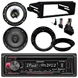 96-2013 Harley Touring Kenwood KDC-125U CD MP3 Stereo Radio Install Adapter Dash Kit Flht Flhx Flhtc ,2 x Kenwood 6.5'' Speakers & Adapter Rings - Motorcycle ATV Stereo Package