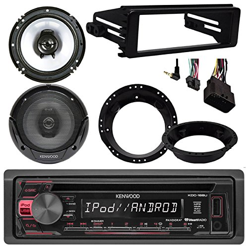 EnrockMarineBundle 96-2013 Harley Touring Kenwood KDC-168U CD MP3 Stereo Radio Install Adapter Dash Kit Flht Flhx Flhtc,2 x Kenwood 6.5