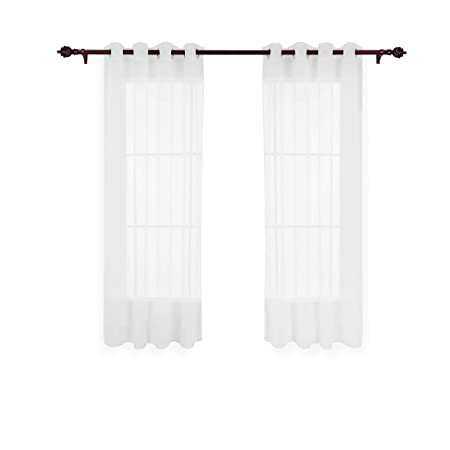 Deconovo Home Decorative Tab Top Curtains Sheer Voile Living Room White 55x69in 1 Pair