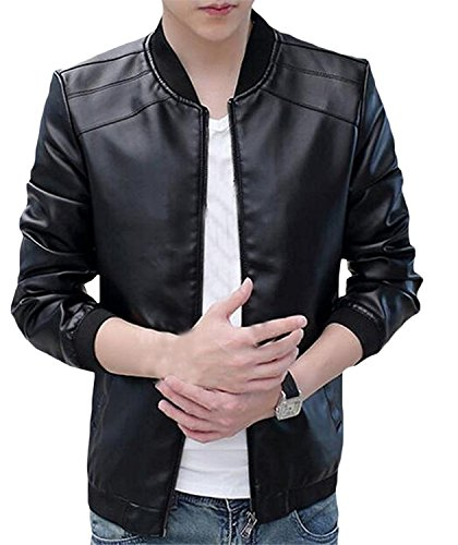 [Reinhar Men Baseball Slim leather Casual PU Leather Baseball Jacket BlackChina X-Large Casual] (Morph Suite)
